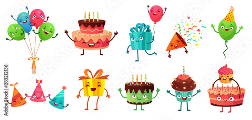 Photo sur Toile Les Textures Cartoon birthday celebration set. Party balloons with funny faces, happy birthday cake and gifts mascot. Birth greeting card decoration character. Isolated vector illustration icons set