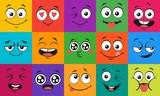 Wyraz twarzy kreskówek. Szczęśliwe, zaskoczone twarze, rysuj usta i oczy postaci. Twarz doodle lub nieśmiały, kochaj i całuj emocje kawaii manga Zestaw ilustracji wektorowych komiks avatar emotikonów