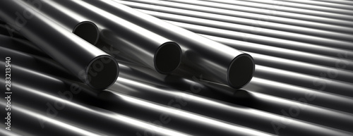Pipes tubes steel metal, round profile, stacked full background Fototapete