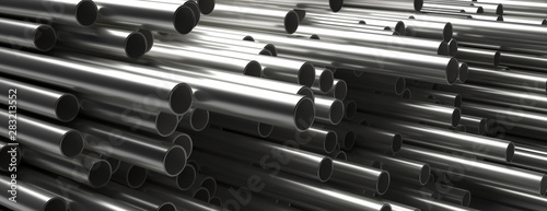 Cuadros en Lienzo  Pipes tubes steel metal, round profile, stacked full background