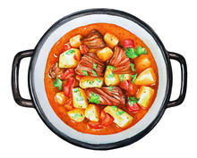 Watercolor Illustration Of The Goulash, Beef Stew With Vegetables.
