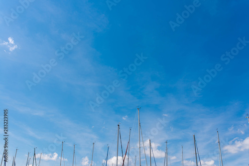Fotografie, Tablou  Many topmasts of parking sailing yachts against blue sky at lake Balaton