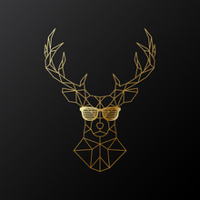 Golden Polygonal Deer In Glass...