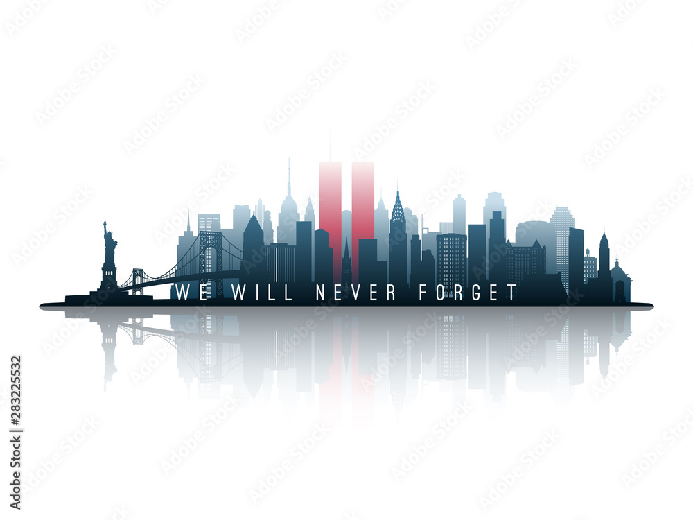 Fototapety, obrazy: New York skyline silhouette with Twin Towers. 09.11.2001 American Patriot Day banner. NYC World Trade Center. Vector illustration.