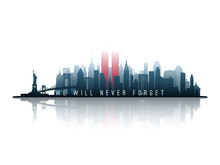 New York Skyline Silhouette Wi...