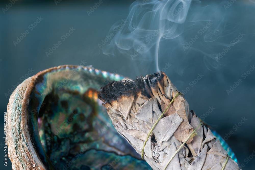 Fototapety, obrazy: Smudging Ritual using burning thick leafy bundle of White Sage in bright polished Rainbow Abalone Shell on the beach at sunrise in front of the lake.