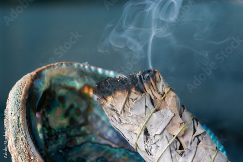 Photo Smudging Ritual using burning thick leafy bundle of White Sage in bright polished Rainbow Abalone Shell on the beach at sunrise in front of the lake