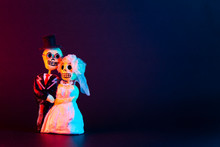 Day Of The Dead Skulls Of A Newlywed Couple On A Black Background On The Right