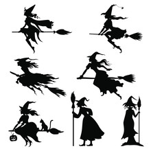Vector Illustrations Of Halloweens Witches Silhouettes Set