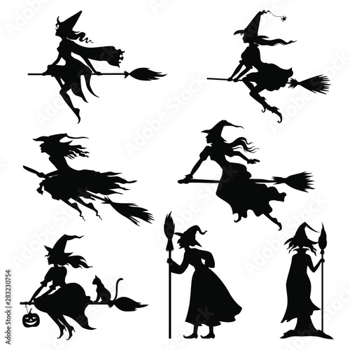 Vector illustrations of Halloweens witches silhouettes set Fotobehang