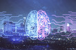 canvas print picture - Brain hologram drawing on city scape background Double exposure. Brainstorming concept.