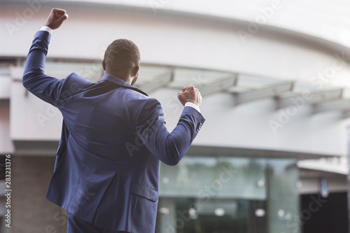 African american job seeker celebrating successful interview Tablou Canvas