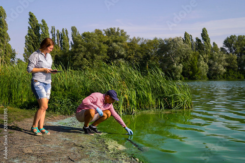 Valokuva  ecologists researchers take samples of green algae and enter data on tablet