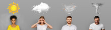 Four Different Weather Conditions With Human Mood On Gray