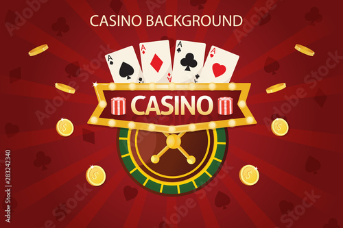 Photo  Casino dice banner signboard on background. Vector illustration