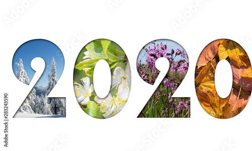 Number 2020 from four seasons photos for calendar, flyer, poster, postcard, banner Fototapet