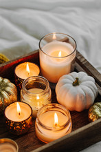 Burning Candles Pumpkin Decora...