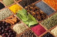 Various Spices In Wooden Box, Top View. Condiments For Cooking Food As Background.