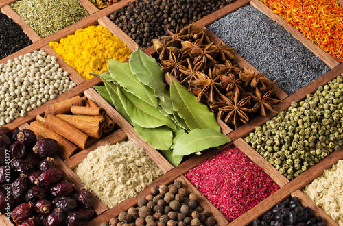 Various spices in wooden box, top view Fototapeta