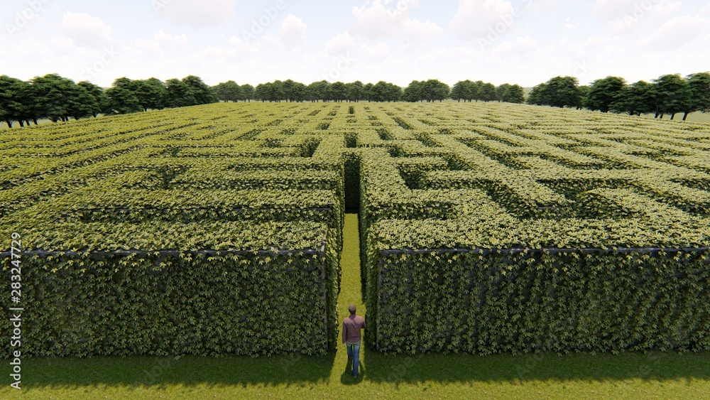Fototapeta Man walking into big labyrinth 3D rendering