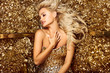 Beautiful hair Girl. Healthy Long Hair. Blonde woman in golden flowers garden, princes