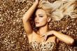 Leinwandbild Motiv Beautiful hair Girl. Healthy Long Hair. Blonde woman in golden flowers garden, princes