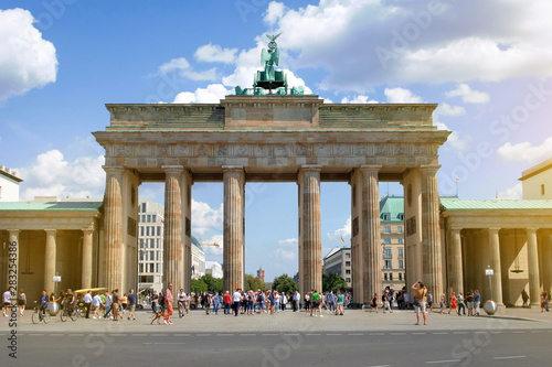 People on street at Brandenburger Tor on summer day in Berlin, Germany Canvas Print