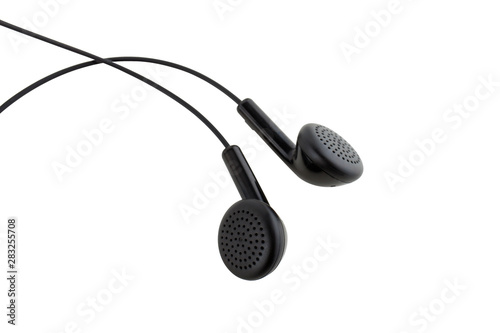 Black earbuds isolated on white background - 283255708