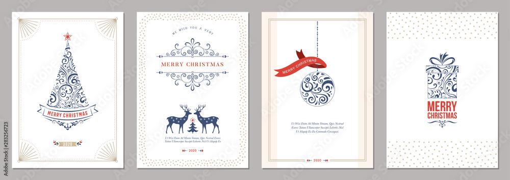 Fototapeta Merry Christmas and Happy Holidays cards