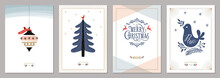 Merry Christmas And Happy New Year Greeting Cards Set.