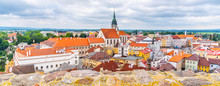 Jindrichuv Hradec Cityscape With Church Of The Assumption Of The Virgin Mary, Czech Republic. Aerial View From Black Tower Of Jindrichuv Hradec Castle