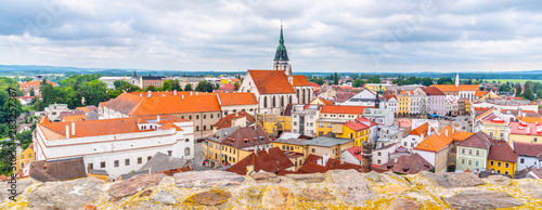 Tuinposter Oude gebouw Jindrichuv Hradec cityscape with Church of the Assumption of the Virgin Mary, Czech Republic. Aerial view from Black Tower of Jindrichuv Hradec Castle