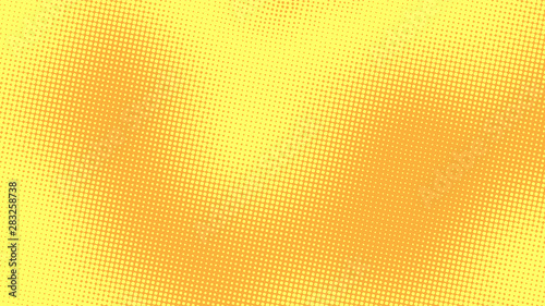 Yellow orange pop art background with halftone dotted design in retro comic style, vector illustration eps10 - 283258738