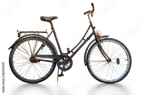 Fotobehang Fiets Rusty bike isolated on white, with reflection in floor