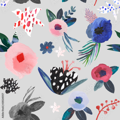 Artistic floral seamless pattern. Hand drawn by gouache Canvas Print