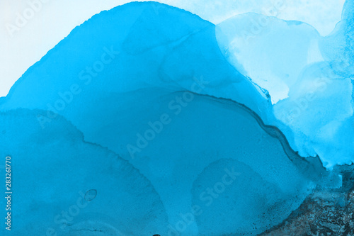 Printed kitchen splashbacks Glaciers Hand painted blue alcohol ink background. Abstract delicate winter season texture. Contemporary wallpaper.