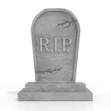 3D Grave With Rest In Peace (RIP) Letters, White Background
