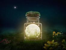 Fantasy Moon Inside A Bottle At Night
