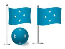 Micronesia Flag On Pole And Ball Icon
