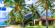 canvas print picture - Tropical paradise - exotic luxury vacation in Mauritius island, beach villa under palms