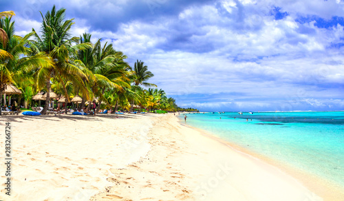 exotic holidays in tropical paradise . beautiful beaches of Mauritius island