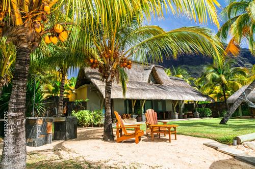 Tropical beach villa. Mauritius island hollidays