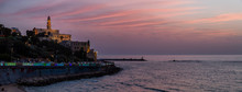 Beautiful Panoramic View Of A Beach In The Old Port Of Jaffa During A Sunny And Colorful Sunset. Taken In Tel Aviv, Israel.