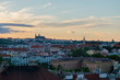 View of Prague Castle over Vltava river from Vysehrad Castle in the evening. Prague, Czech Republic