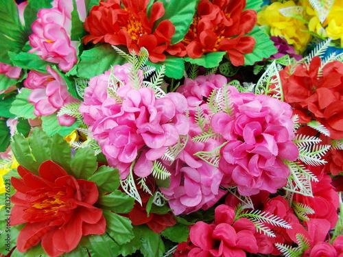 Photo sur Toile Azalea bright fabric flowers for designer cards