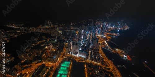 Fototapety, obrazy: Panorama aerial view of Hong Kong Nightscape on Causeway Bay