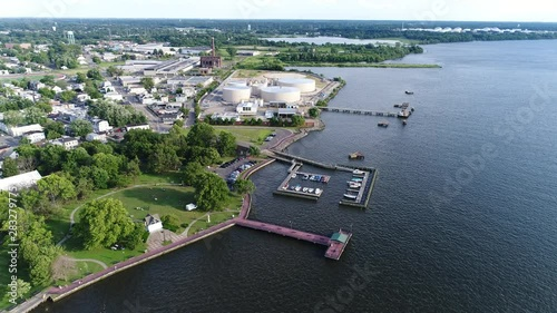 Aerial View Small Marina on the Delaware River near Philadelphia Canvas Print