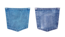 Blue Jeans Back Pocket Texture Isolated On White Background With Clipping Path