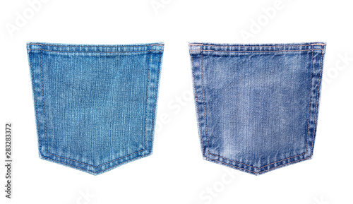 Cuadros en Lienzo blue jeans back pocket texture isolated on white background with clipping path