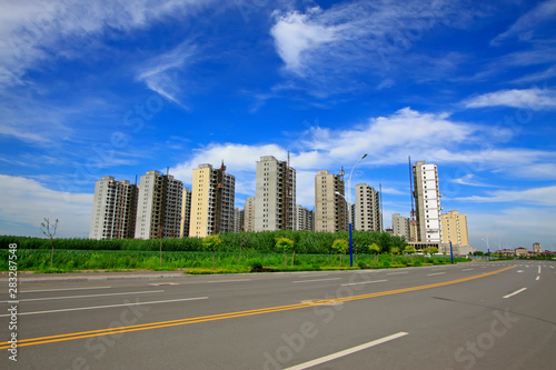 city building scenery Wallpaper Mural